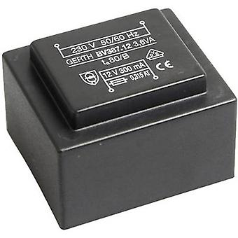 PCB mount transformer 1 x 230 V 2 x 7.50 V AC 3.60 VA 240 mA