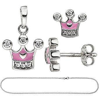 Kids girls pink pink 925 Silver cubic zirconia necklace jewelry set Crown 38 cm