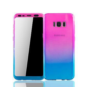 Samsung Galaxy S8 plus Rörlig Avsats Schutzcase full täckning 360 Visa skydd folie rosa / blå