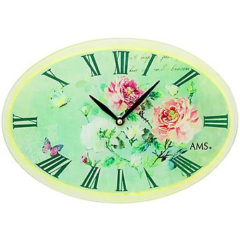 AMS 9479 wall clock quartz analog oval green vintage antique retro roses butterflies