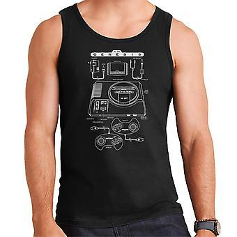 Sega Genesis Sega Mega Drive Patent blauwdruk mannen Vest