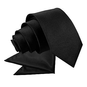 Zwarte platte satijnen stropdas & zak plein voor jongens instellen