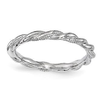 2,5 mm argento ritorto lucidato espressioni impilabile anello rodiato Twist - dimensioni dell'anello: 5-10