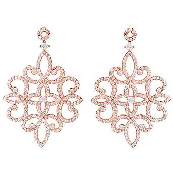 Large Statement Chandelier Drop Earrings Pink Rose Gold CZ 925 Silver Big Party