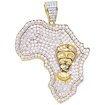 Premium Bling 925 Sterling Silber Afrika Anhänger gold