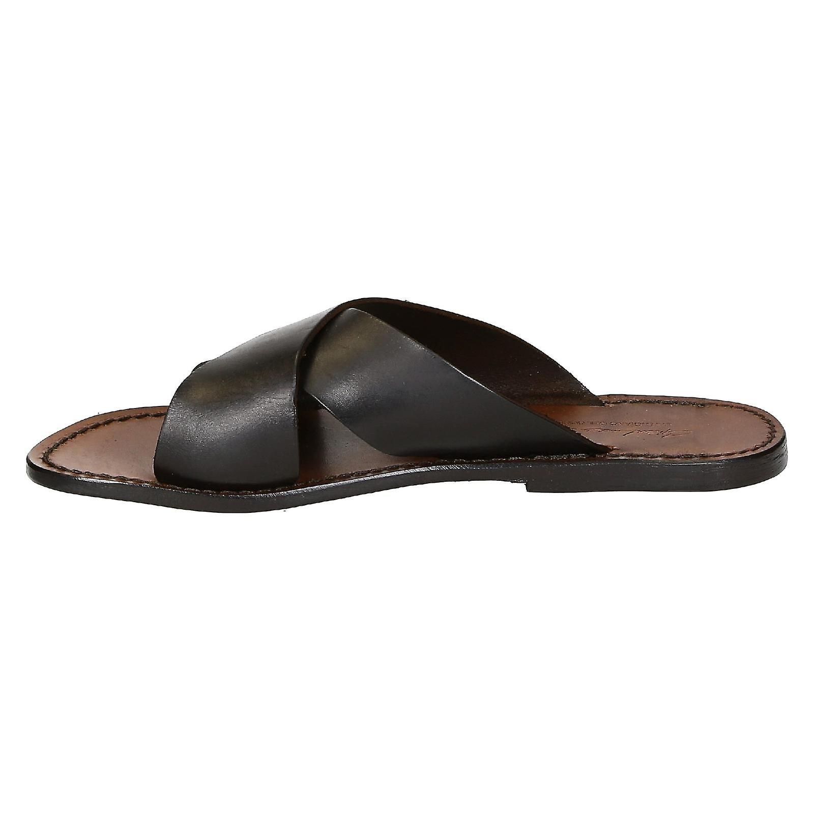 12d573238c13 Mens leather slippers handmade in Italy in dark brown leather