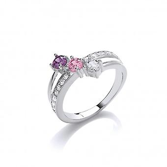 Cavendish French 'Pinks and Purples' CZ Solitaires Ring