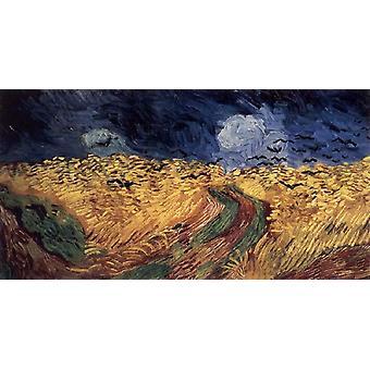 Korenveld met kraaien, Vincent Van Gogh, 80x40cm