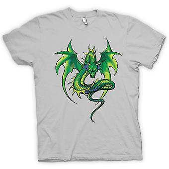 Mens t-shirt-disegno comico del drago verde