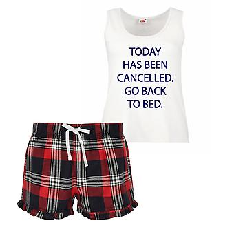 Today Has Been Cancelled Go Back To Bed Ladies Tartan Frill Short Pyjama Set Red Blue or Green Blue