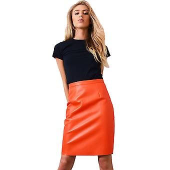 Lovemystyle Neon Orange Pencil Skirt With Back Zip