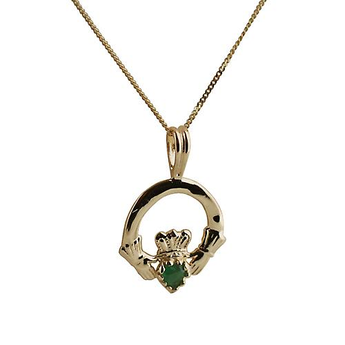 9ct Gold 20x15mm green agate set Claddagh Pendant curb Chain 16 inches Only Suitable for Children