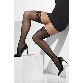 Womens Black Fishnet Hold-Ups Silicone Tops Fancy Dress Accessory