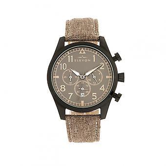 Elevon Curtiss Chronograph Nylon-Overlaid Leather-Band Watch - Beige/Black