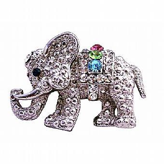 Niedliche Elefant mit bunt kubischer Zirkon Brosche Schmuck