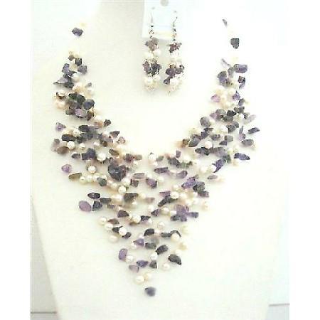 Amethyst Stone Nugget FresshWater Pearl Genuine Amethyst & Freshwater Pearl w/ Sterling Silver Earrings