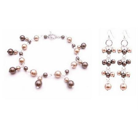 Customize Your Jewelry Bracelet Earrings Bronze Brown Dangling Pearls