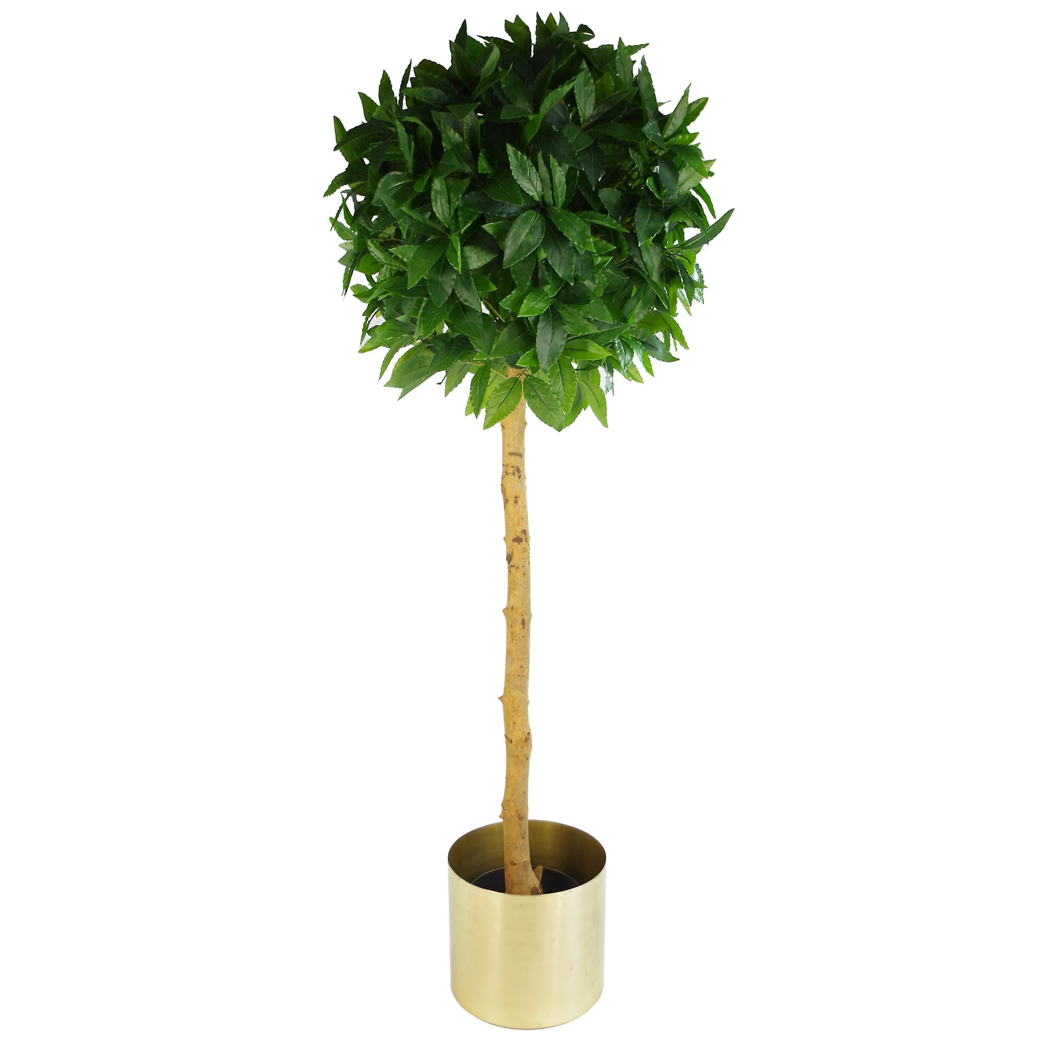 Leaf Metal Planter Plant Pot with Brushed Brass Finish 20 x 18cm