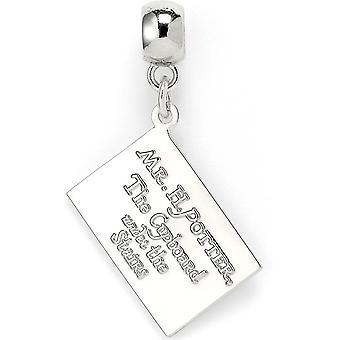 Harry Potter Hogwarts pendant silver/white, letter from metal on backer card.