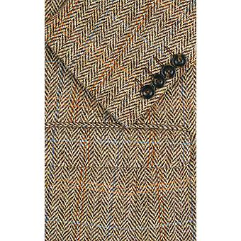 Harris Tweed Mens Brown Suit Jacket Regular Fit 100% Wool Windowpane Check