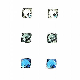 TOC Sterling Silver Clear  Grey & Blue Faceted Square Stud Earrings - 3 Pairs