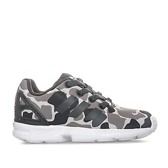 Infant Boys adidas Originals Zx Flux Camo Trainers In Black Grey- Elasticated