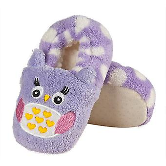Infants Plush Fleece Cute Lilac Owl Full Foot Slippers