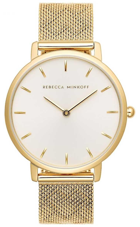 Rebecca Minkoff femmes major   Bracelet en maille plaqué or   Montre argentblanc Dial 2200298