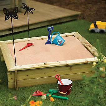 Rowlinson Pressure Treated Square 4ft x 4ft Wooden Sandpit with Lid