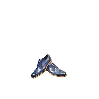 Barker Valiant Hand Painted Leather Shoes Navy