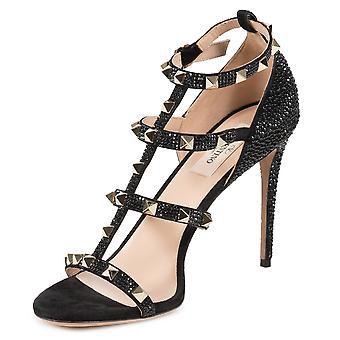 Valentino Jet Black Rockstud Sandals with Crystals