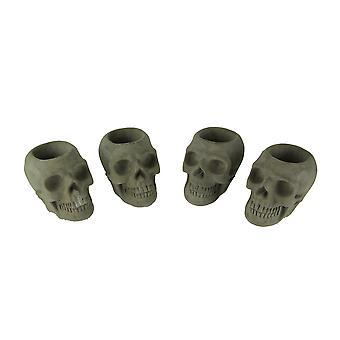 Grey Molded Concrete Indoor Outdoor Skull Planters Set of 4