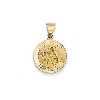 14k Yellow Gold Hollow Satin Back Polished and Satin St. Matthew Medal Pendant - .9 Grams