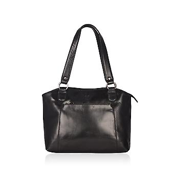 Bowland Leather Shopper in Black