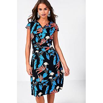 iClothing Robyn Floral Print Dress In Black-16