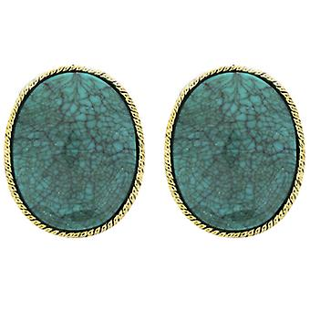 Clip On Earrings Store Large Oval Turquoise Blue Stone & Gold Clip On Earrings