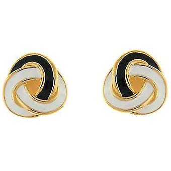 Kenneth Jay Lane Black & White Enamel Knot Clip On Earrings