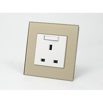 I LumoS AS Luxury Gold Crystal Glass Single Switched Wall Plug 13A UK Sockets