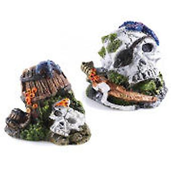 Classic For Pets Small Skull Asst 90mm 4pc (Fish , Decoration , Ornaments)