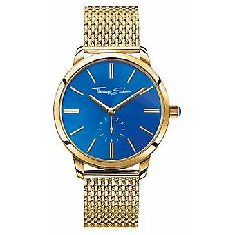 Thomas Sabo Womans Glam Spirit Stainless Steel Gold Mesh Strap Blue Dial WA0274-264-209-33MM Watch