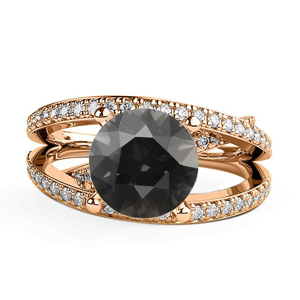 14K Rose Gold 2.50 CTW Black Diamond Ring with Diamonds Multi Band Unique Designer