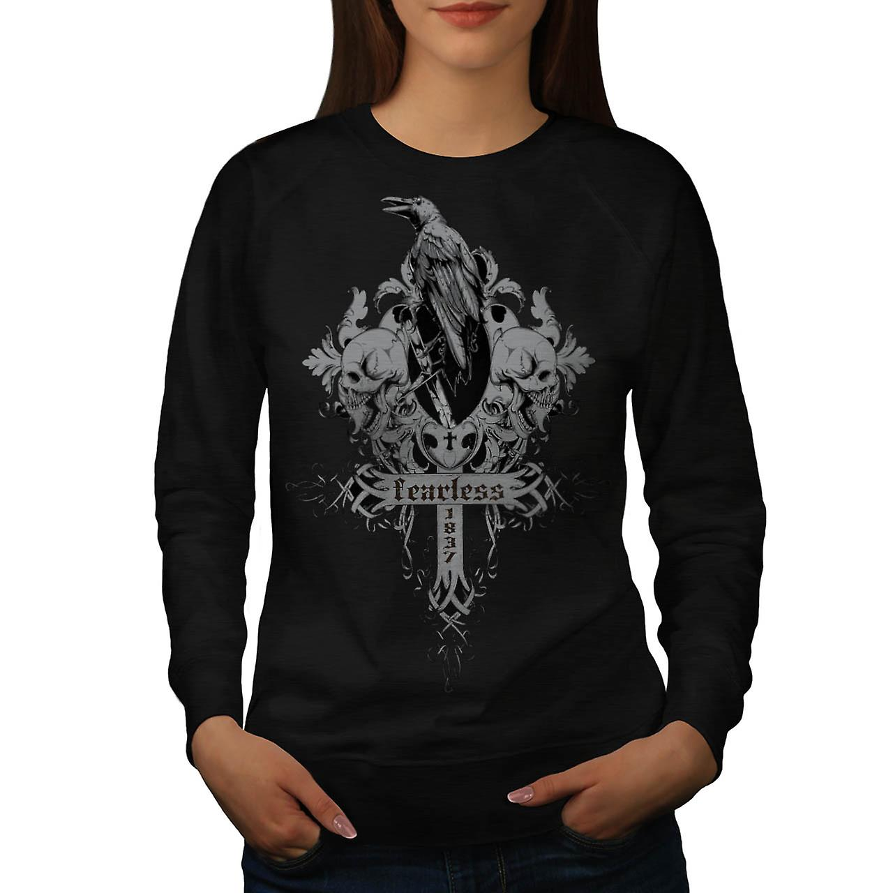 Fearless Death Crow Grave Yard Women Black Sweatshirt | Wellcoda