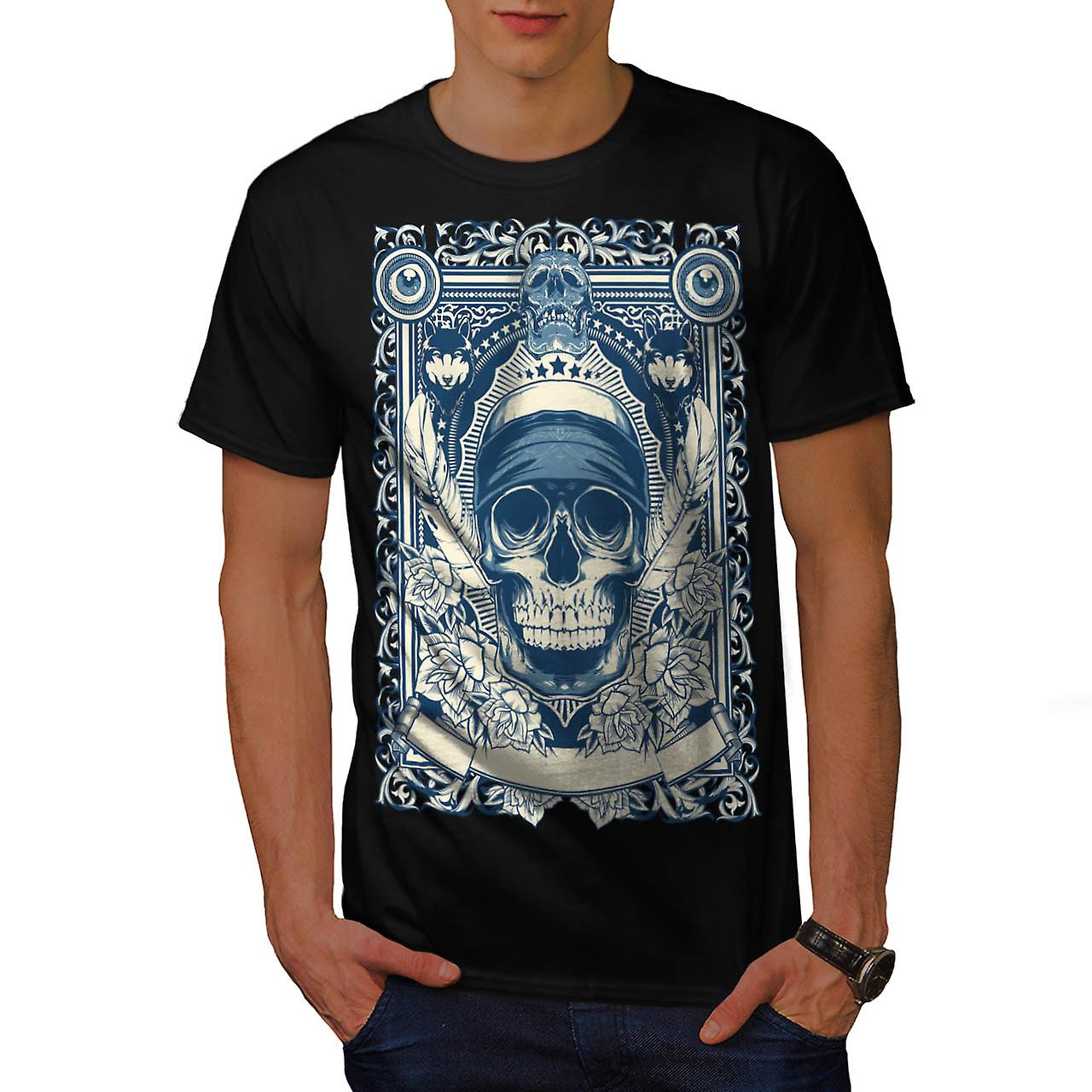 Day Dead Feather Skull Men Black T-shirt | Wellcoda
