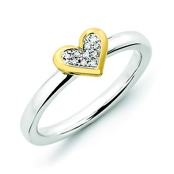 Sterling Silver Rhodium Polished Prong set Stackable Expressions Heart With Dia. and Gold-Flashed Ring - Ring Size: 5 to