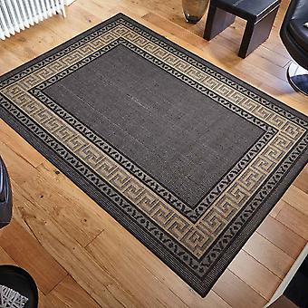 Greek Key Flatweave Anti Slip Rugs In Black