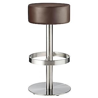Borosin Kitchen Brushed Bar Stool Round Seat No Back Fixed Height