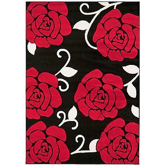 Valera Red & Black Floral Modern Rug
