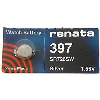 Renata 1.55 Volt Watch Battery 397 Replaces - Pack of 10 (SR726SW)