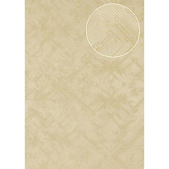 Graphic wallpaper Atlas SIG-085-2 non-woven wallpaper textured with abstract pattern shimmering ivory perl white light ivory 7,035 m2