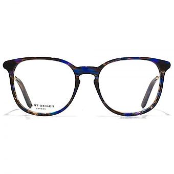 Kurt Geiger Sofie Preppy Acetate Round Glasses In Streaky Crystal Blue
